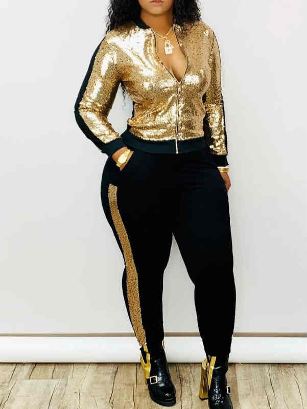 Fall and Winter Zipper Sequin Sportswear Coat & Pencil Pants Two Set