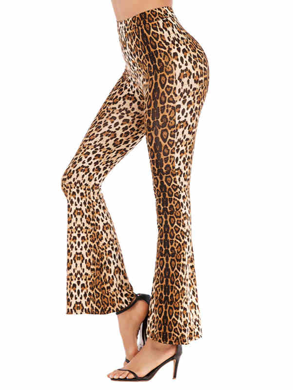 High Waist Leopard Print Flared Trousers