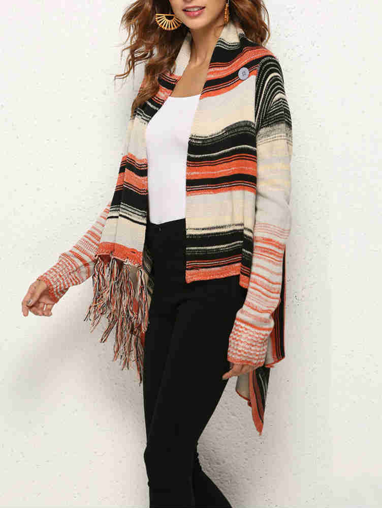 Colorful Ins Knit Batch Shoulder with Tassels Sweater Coats