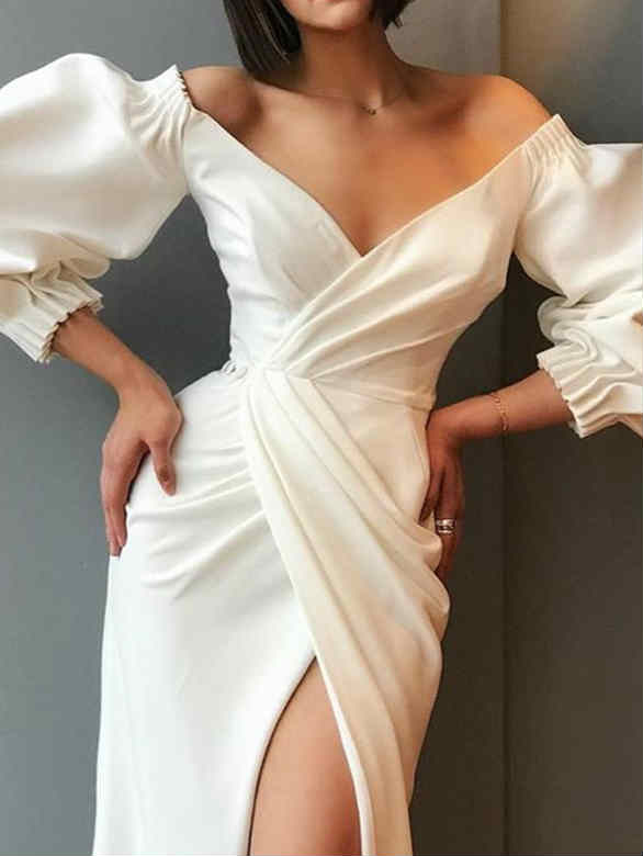 Long Sleeve V-neck Tied High Slit Prom Maxi Dress