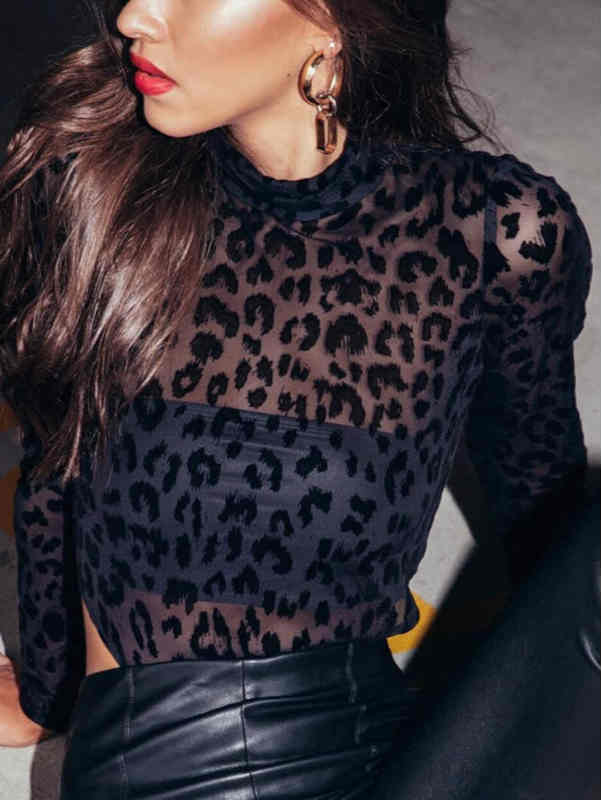 Mesh See Through Black Leopard Print Bodysuit