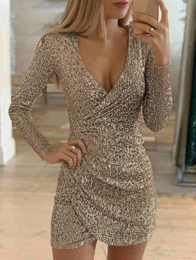 V-neck Irregular Sequin Mini Dress