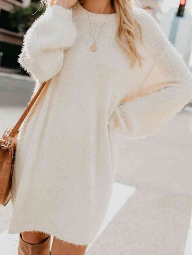 Round Neck Fall and Spring Loose Sweater Dress