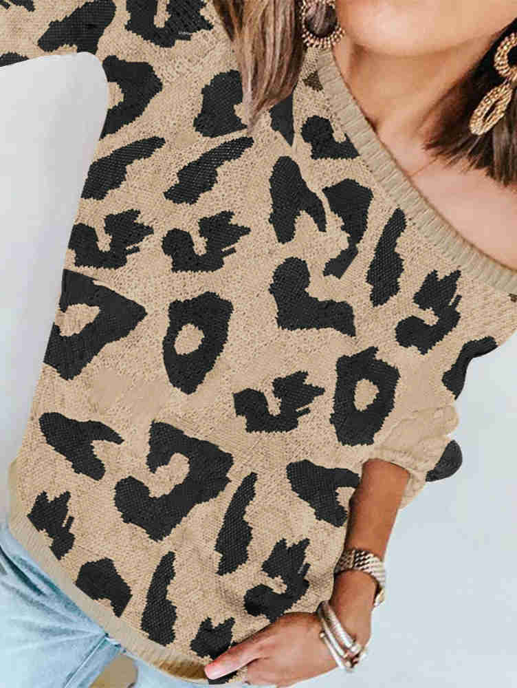 Long Sleeve Leopard Print Loose Sweater