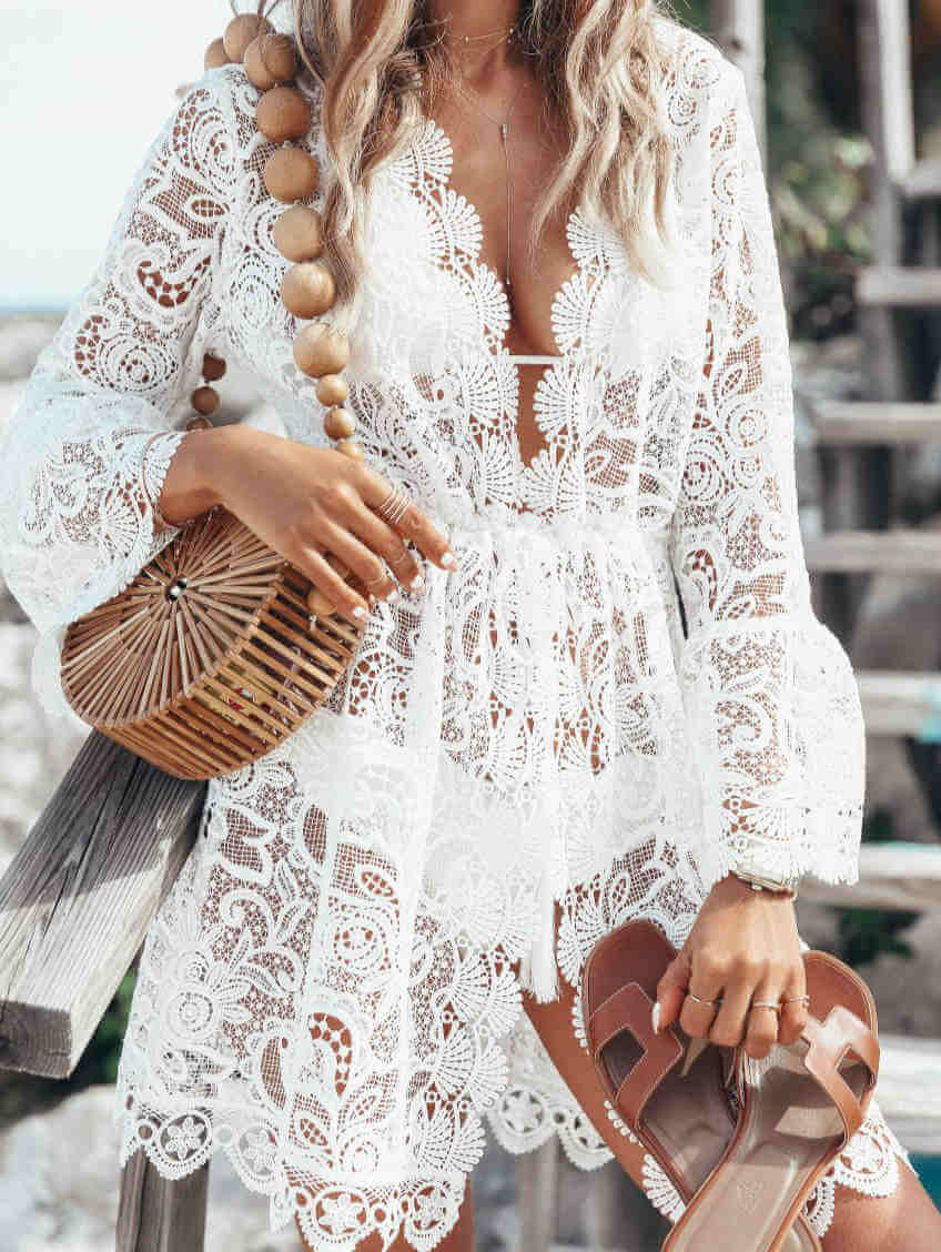 V-neck Lace Floral Print Mesh Midi Dress