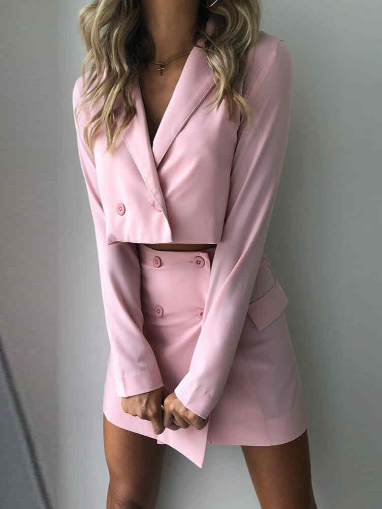 Long Sleeve Button Crop Top Suit & Skirt Set