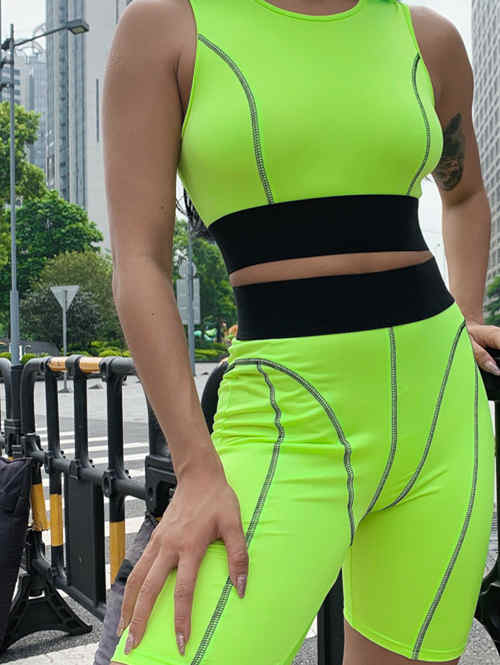 Fluorescent Sleeveless Cropped Pants