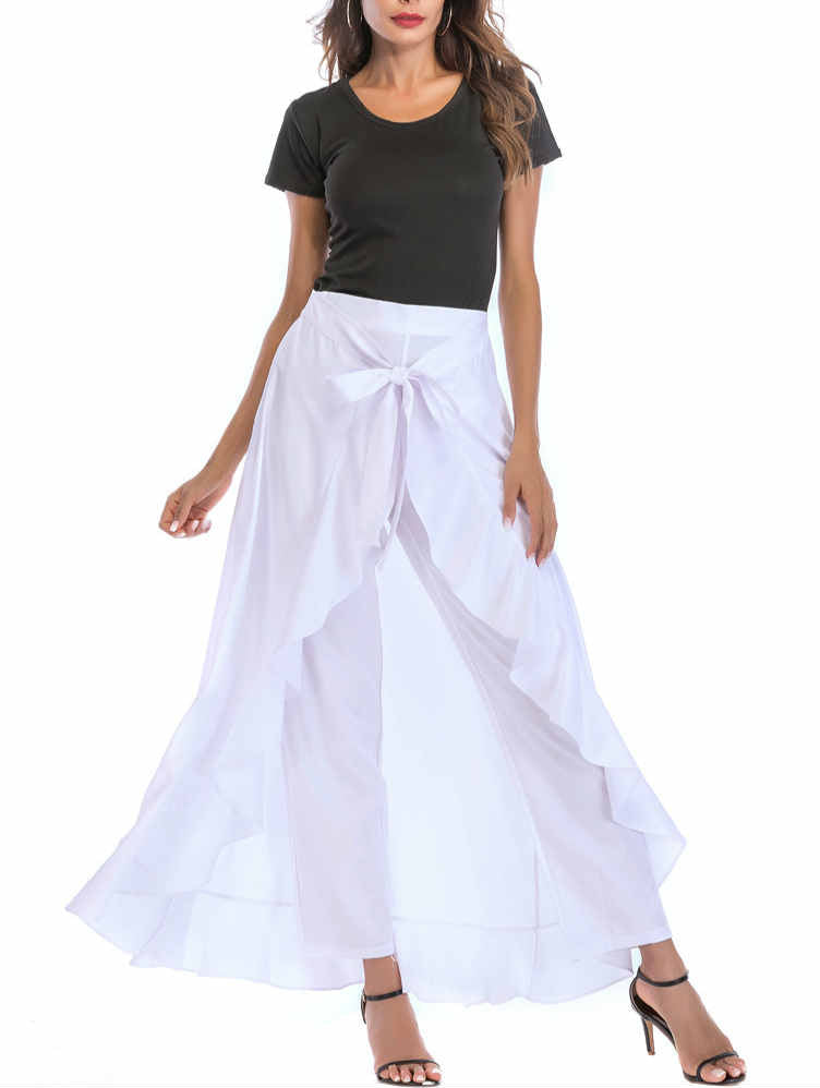 Irregular Bowknot Skirt Trousers