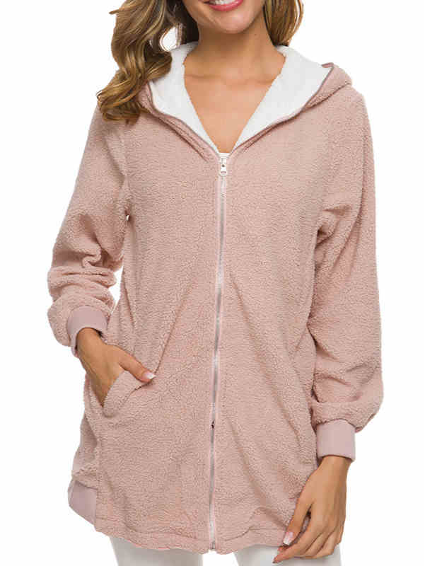 Fall and Winter Women Lambswool Hoodies Coat