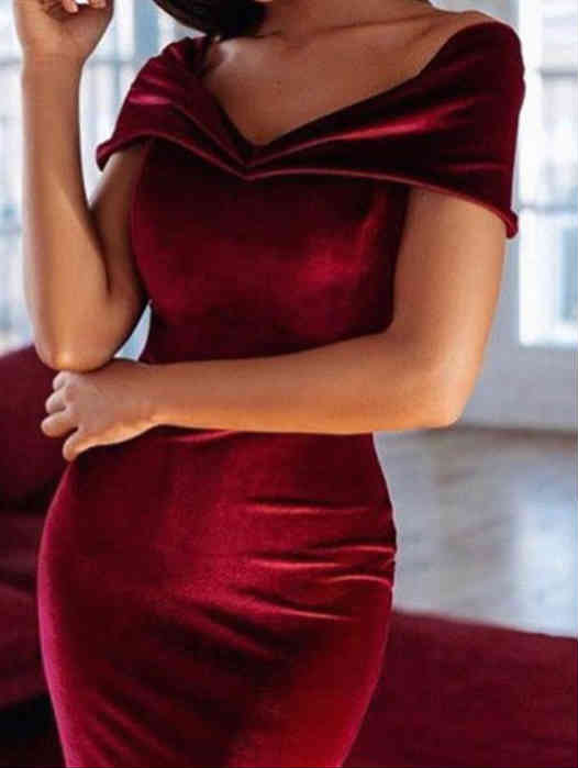 Off Shoulder Velvet Prom Evening Dress