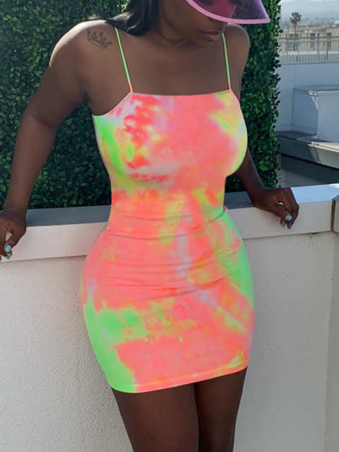 High Waist Fluorescent Camo Mini Dress