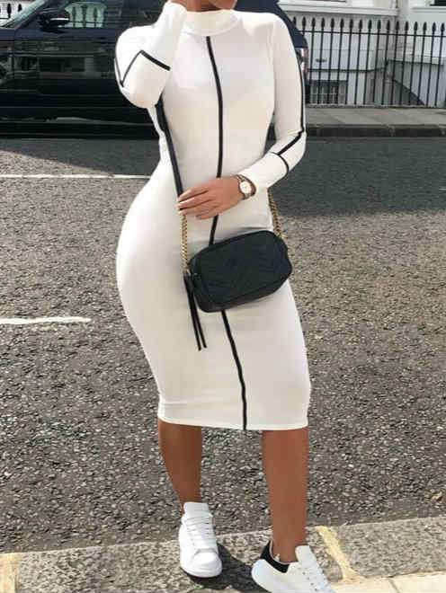 Long Sleeve High Collar Stripe Fall and Winter Midi Dress
