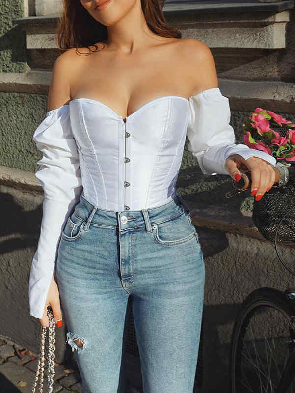 Long Sleeve Off Shoulder Solid Color Slim Top