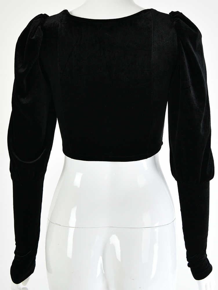 U-Neck Long Sleeve With Button Velvet Crop Top