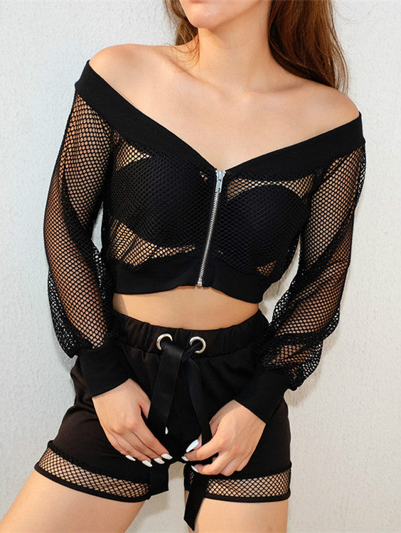 Mesh Sunshade See Through Blouse
