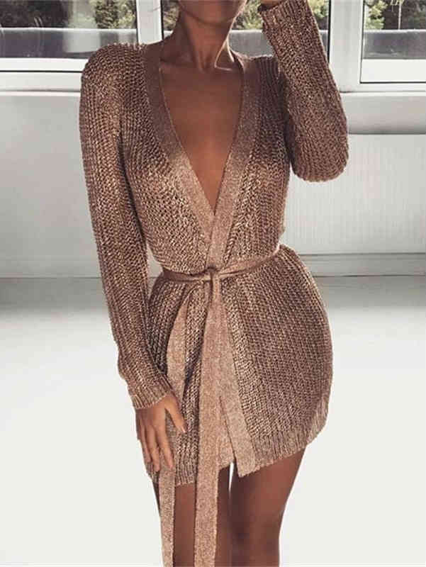 V-neck Metal Low Cup Midi Cardigan Dress