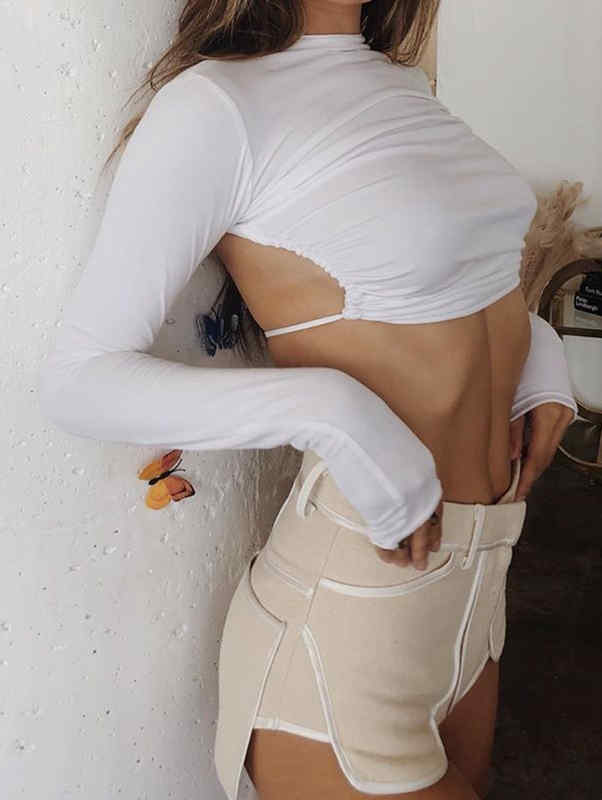 Stand Collar Bare Back Tied Waist Sexy Crop Top