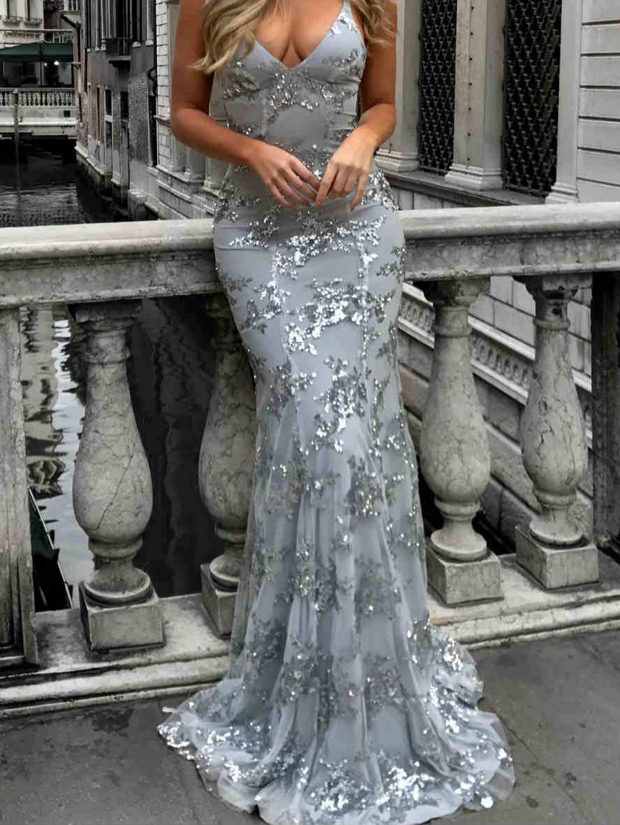 Deep V-Neck Sequin fishtail Maxi Dress