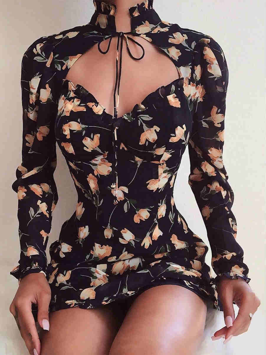 High Collar Low Cut Floral Print Tied Mini Dress