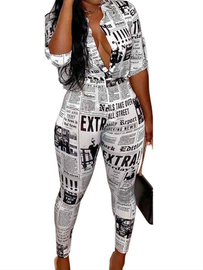 Newspaper Print Shirt & Pants Two Set