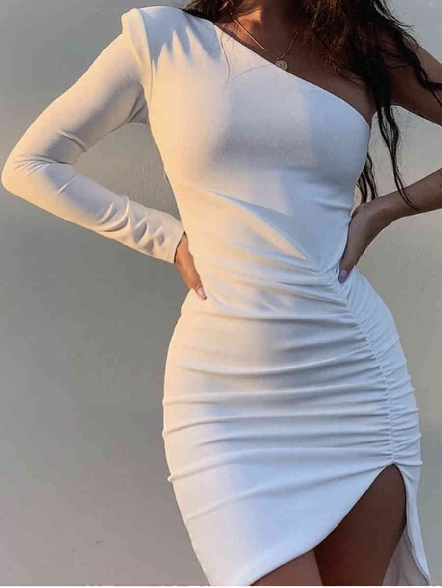 Long Sleeve One Shoulder Side Slit Midi Dress