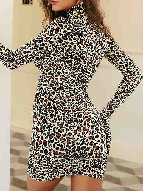 Wild Leopard Print With Glove High Collar Mini Dress