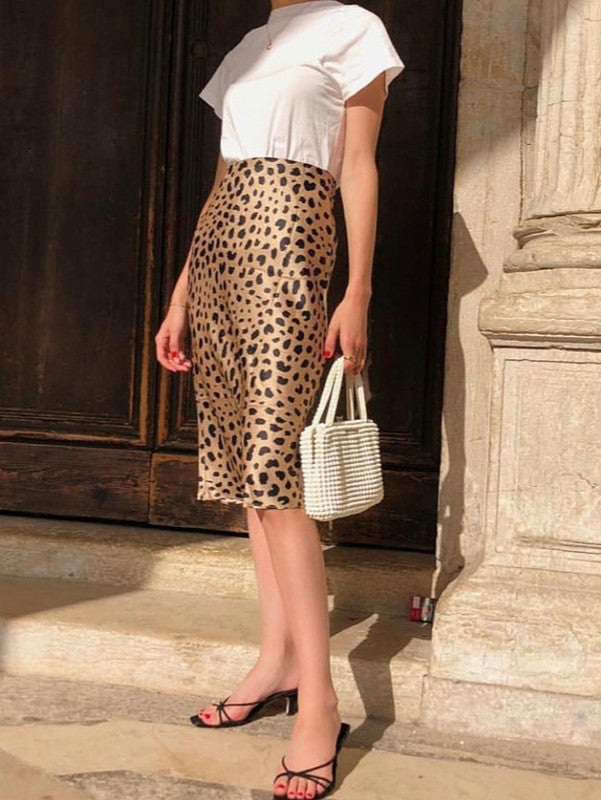 High Waist Leopard Print skirt