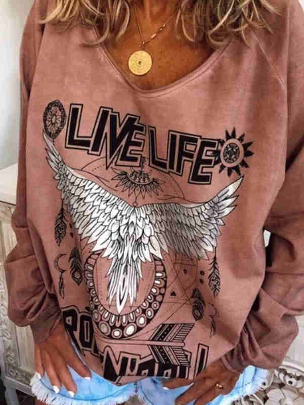 Printed Long Sleeve Oversize Shirt
