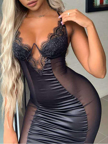 Spaghetti Straps Mesh Lace See Through Midi Dress