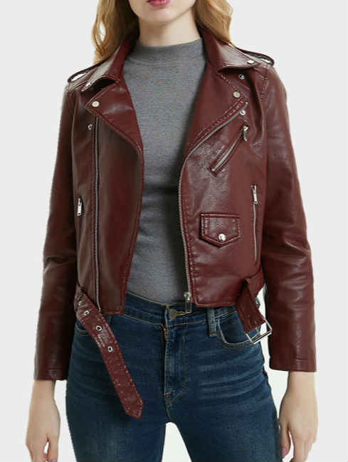Short PU Leather Lapel Motorcycle Jacket with Belt