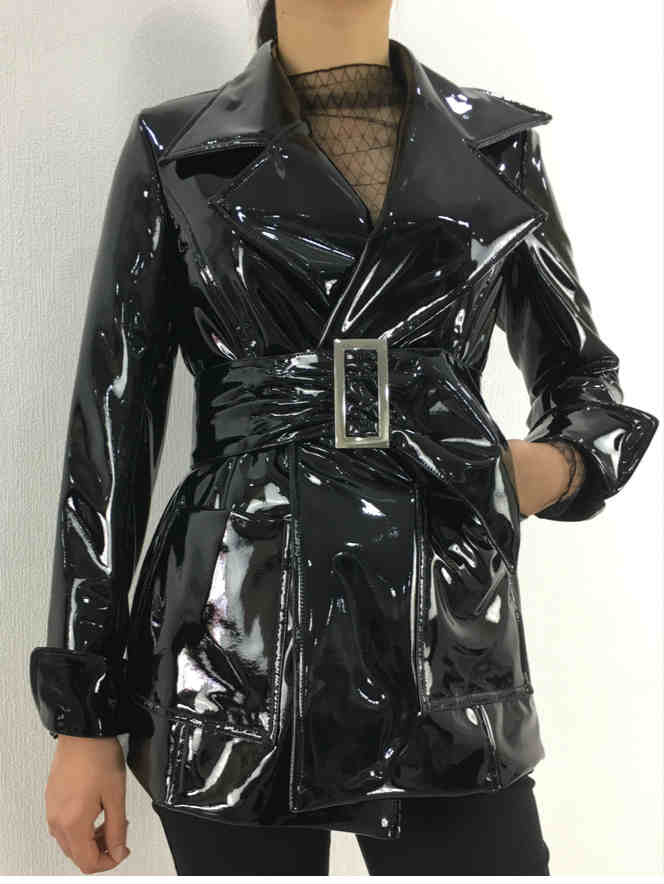Stand Collar High Waist Bright PU leather Jacket