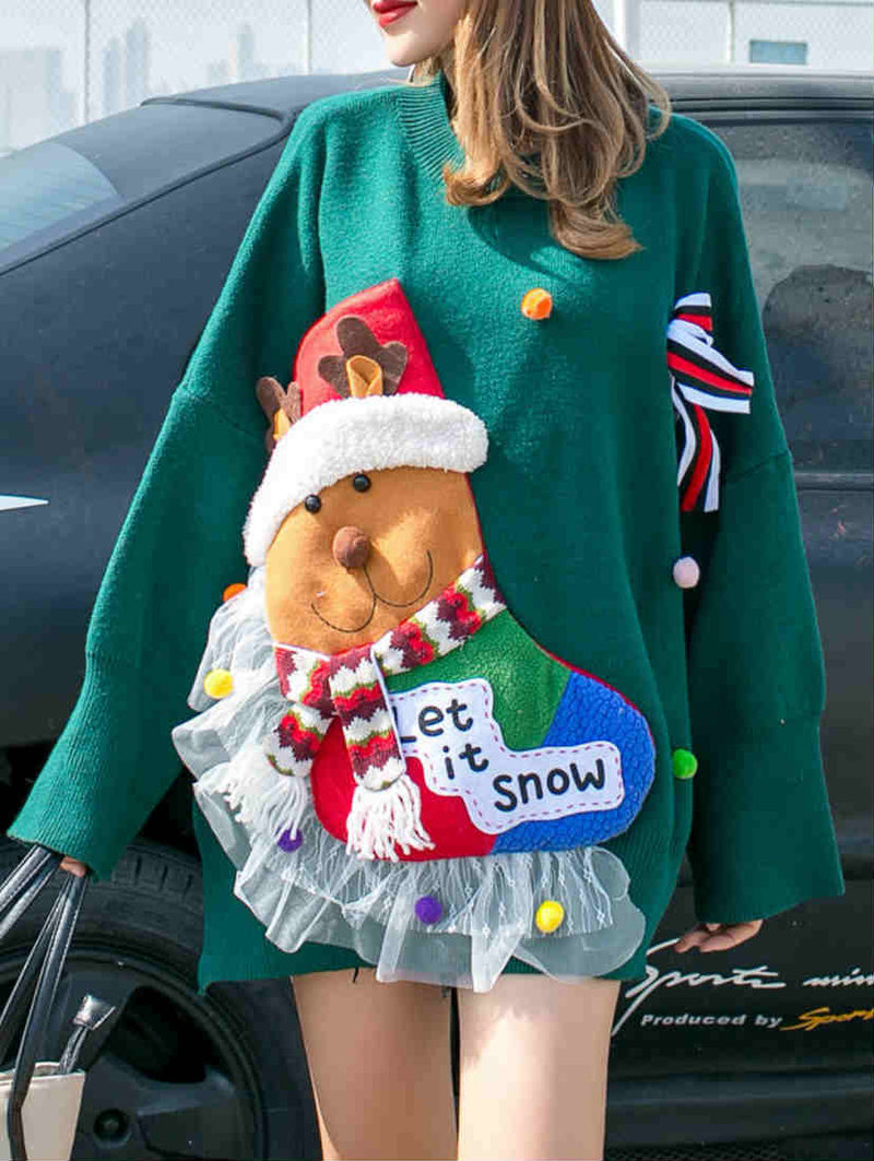 Fashion Winter Warm Cartoon Christmas Knit Top