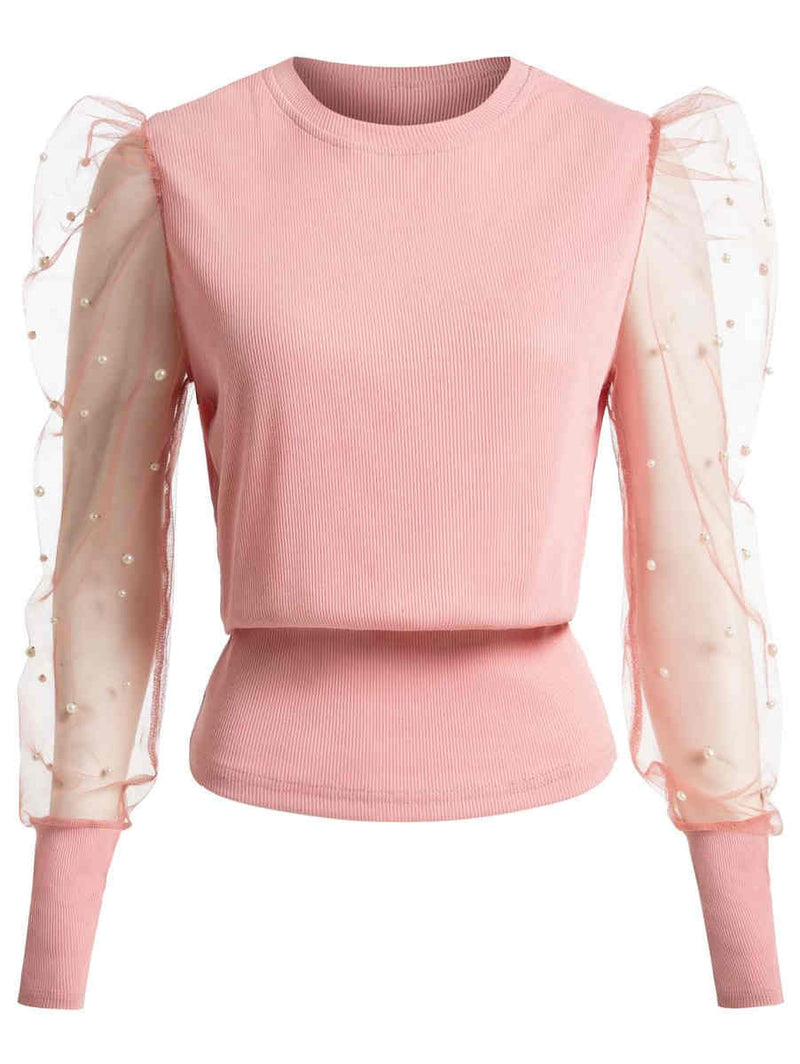 Pearl Round Neck Lace Gauze Puff Sleeve Top
