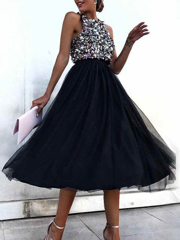 Round Neck Sleeveless High Waist Sequin Princess Midi Dress