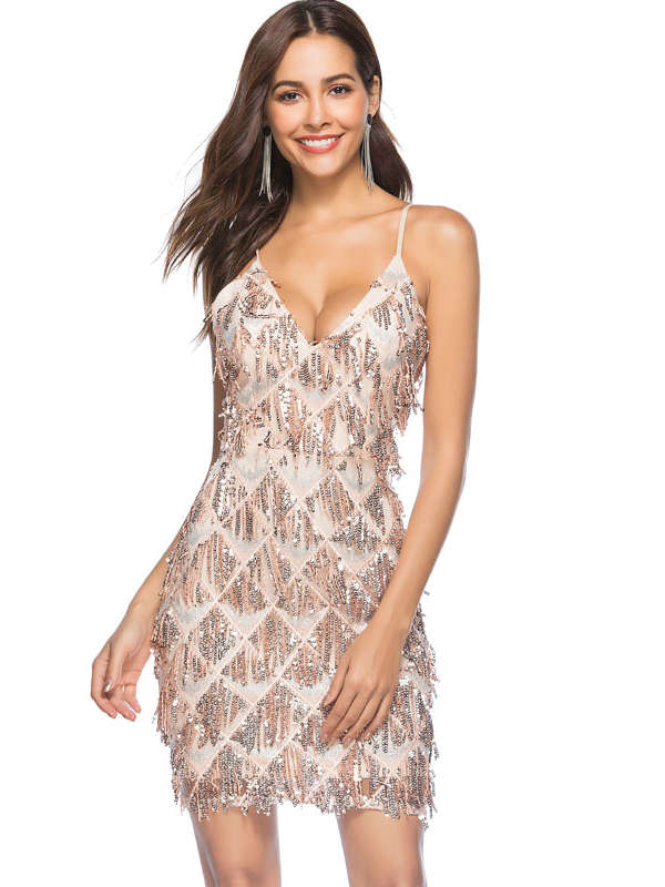 Deep V-Neck Sequin Mini Dress