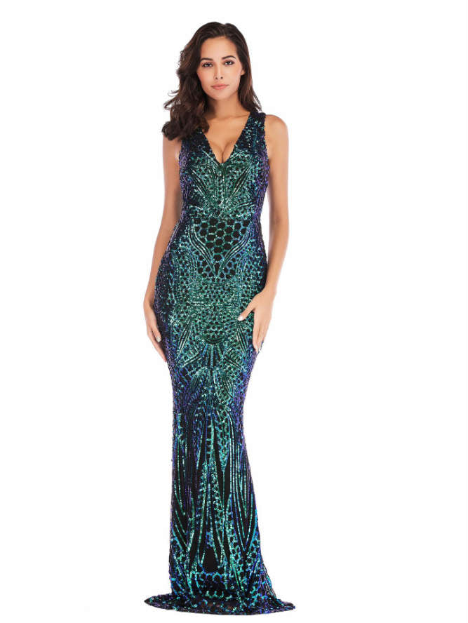 V-neck Sequin Maxi Dress
