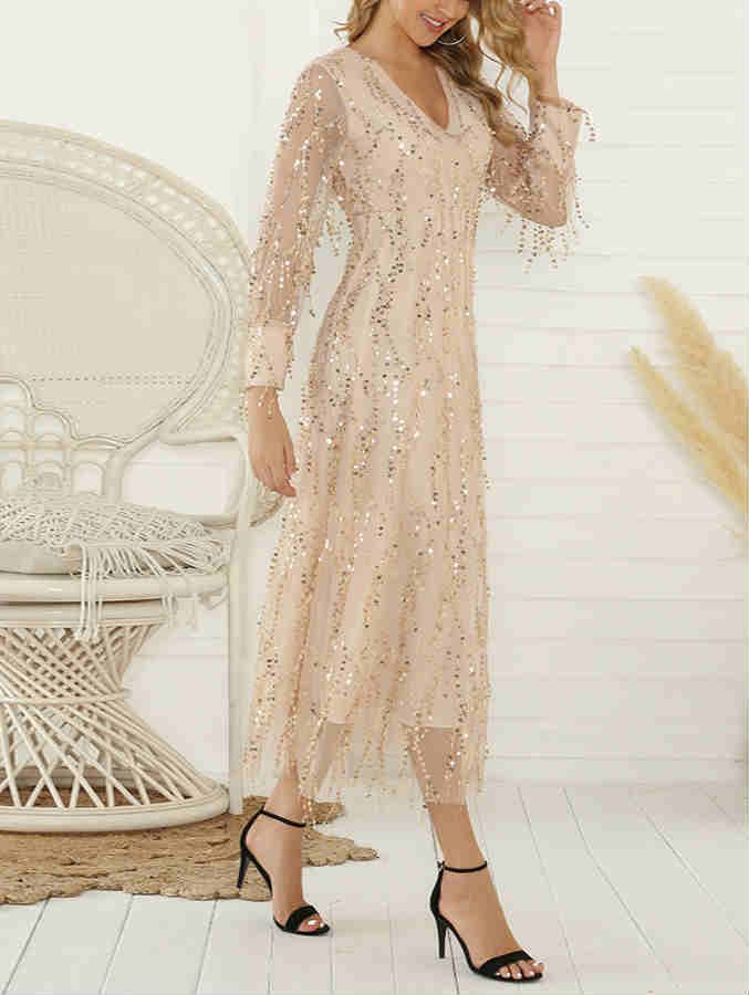 Long Sleeve V-neck Sequin Maxi Dress