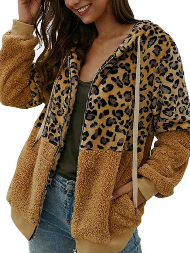 Zipper Leopard Print Stitching Fall and Winter Faux Fur Coat
