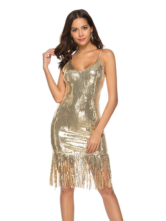 Deep V-neck Sequin Prom Maxi Dress