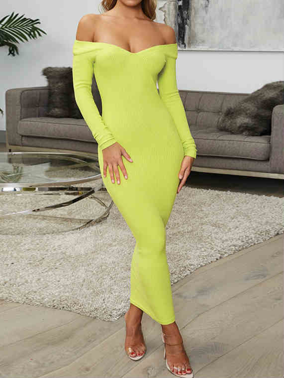 Long Sleeve V-neck Off Shoulder Fall Maxi Dress