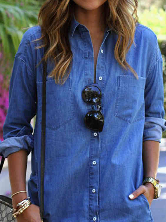 Long Sleeve V-neck Blue Denim Shirt Dress