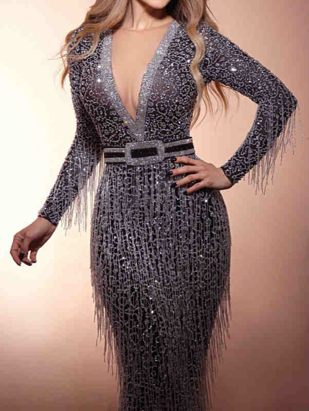 Fall and Spring Long Sleeve V-neck Sequin with Tassels Maxi Dress