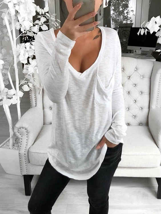V-neck Long Sleeve with Pocket T-Shirt