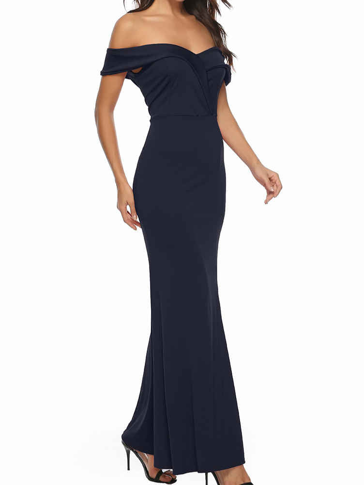 Short Sleeve V-Neck Slit Prom Evening Party Maxi Dress