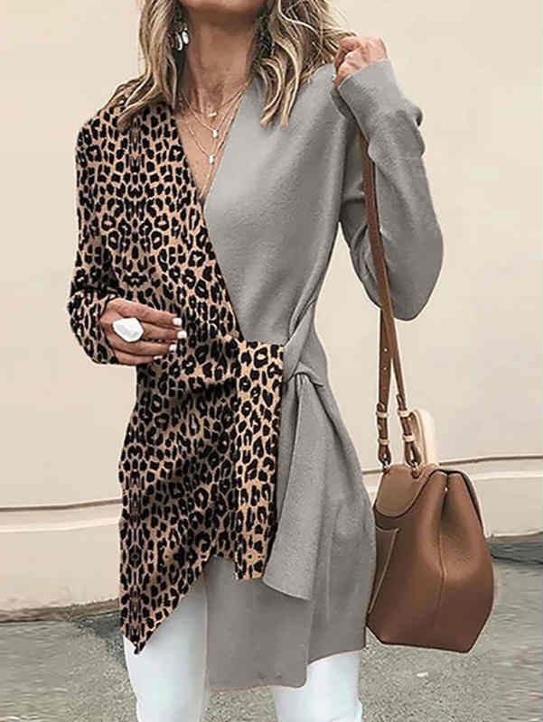 V-neck Leopard Print Color Stitching Trend Suit Top