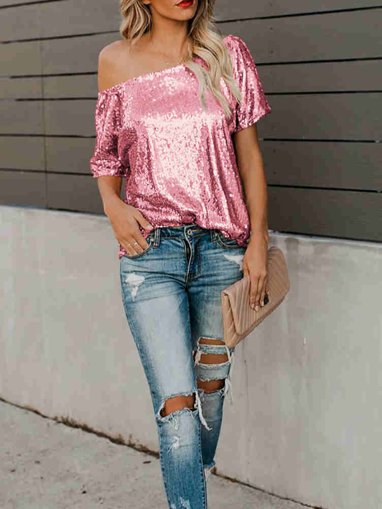Short Sleeve Off Shoulder Sequin T-shirt