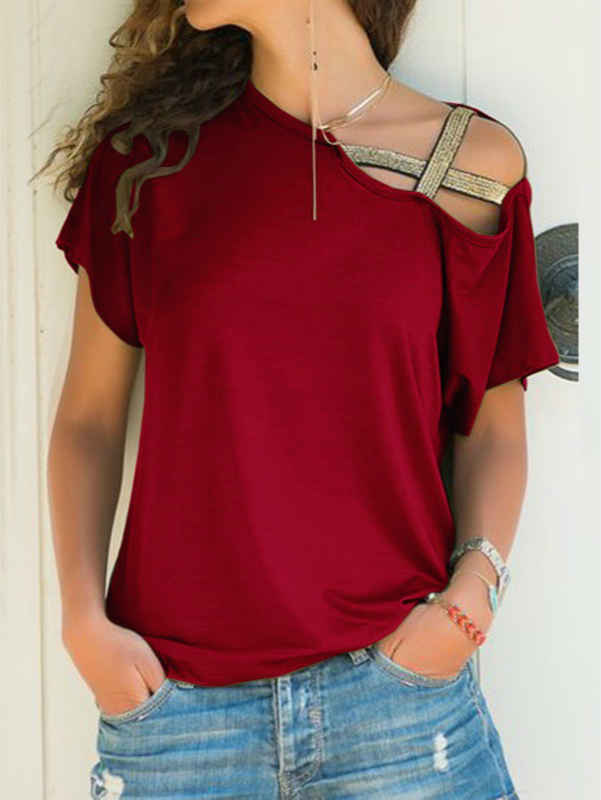 One Shoulder Strap Crossed Irregular T-Shirt