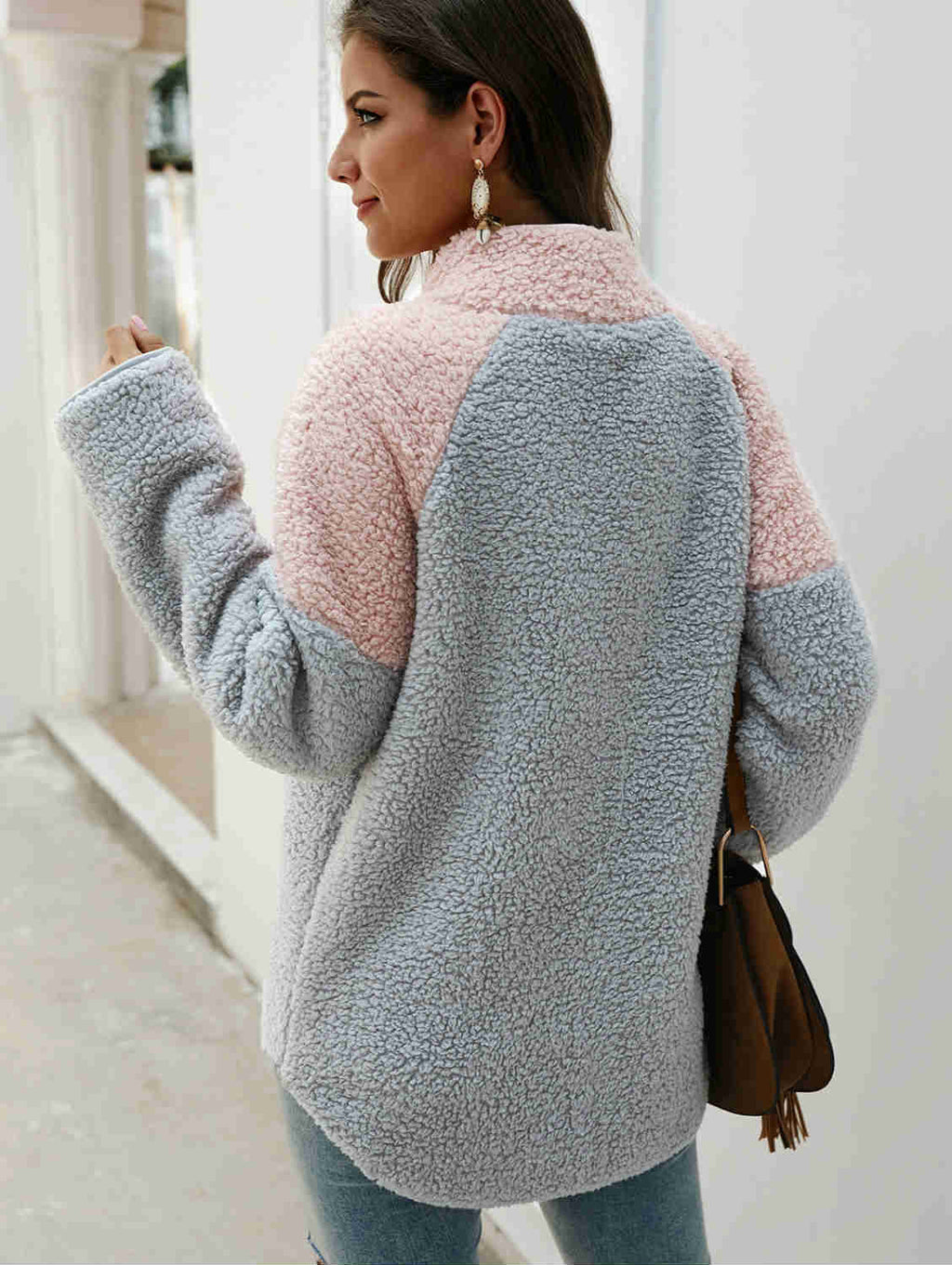 High Collar Fall and Winter Thick Faux Fur Coat Top