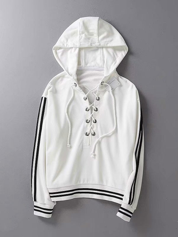 Lace Up V Neck Hoodie