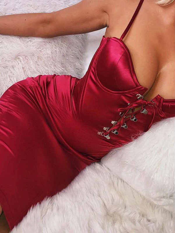 Tied Straps Padded High Waist Satin Midi Dress